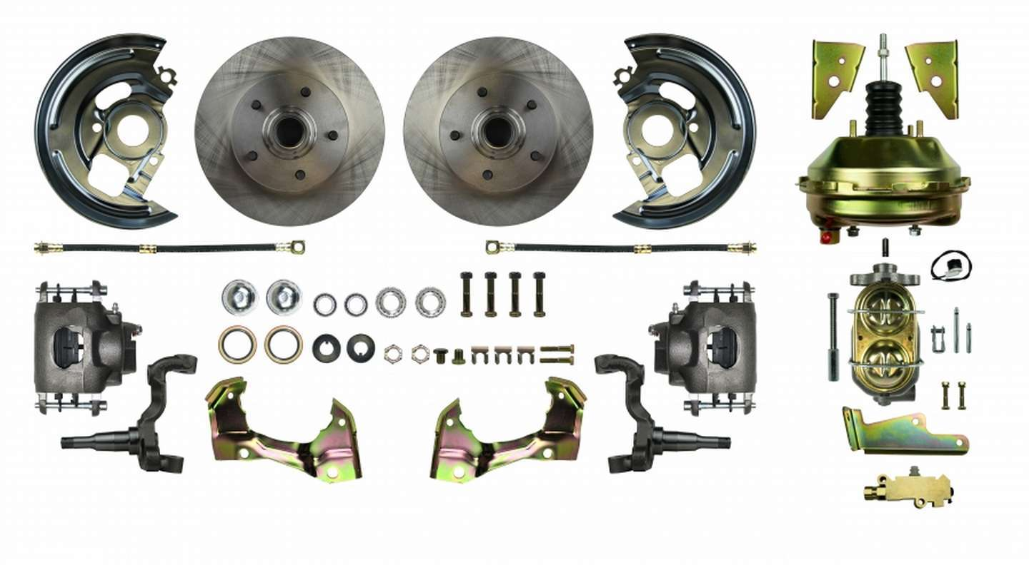 Right Stuff Detailing AFXDC01C Brake System, Power Disc Conversion, Front, 1 Piston Caliper, 11.00 in Rotors, Offset Hat, Iron, Natural, GM A-Body 1964-72, Kit