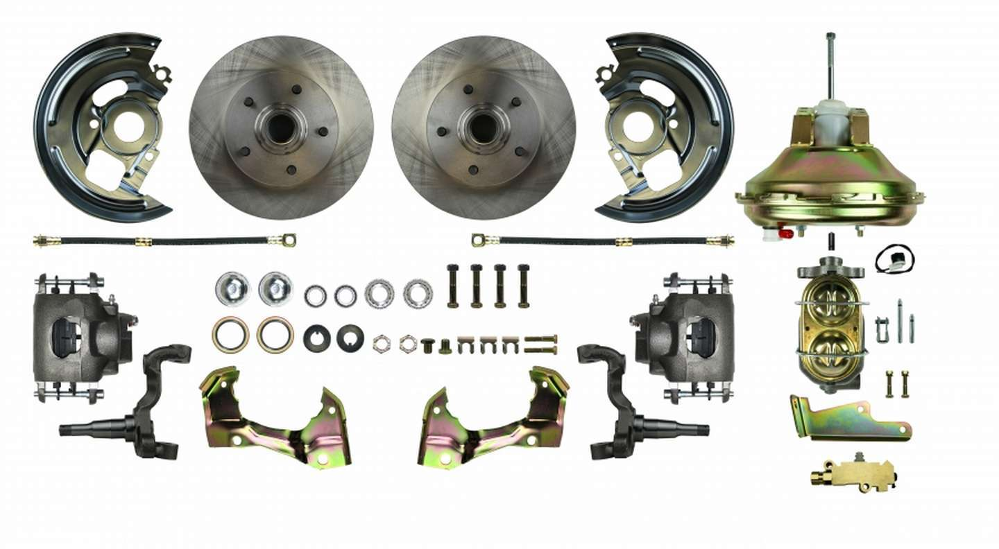 Right Stuff Detailing AFXDC02C Brake System, Power Disc Conversion, Front, 1 Piston Caliper, 11.00 in Rotors, Offset Hat, Iron, Natural, GM F-Body 1967-69, Kit