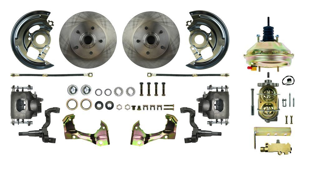Right Stuff Detailing AFXDC03C Brake System, Power Disc Conversion, Front, 1 Piston Caliper, 11.00 in Rotors, Offset Hat, Iron, Natural, GM X-Body 1962-67, Kit