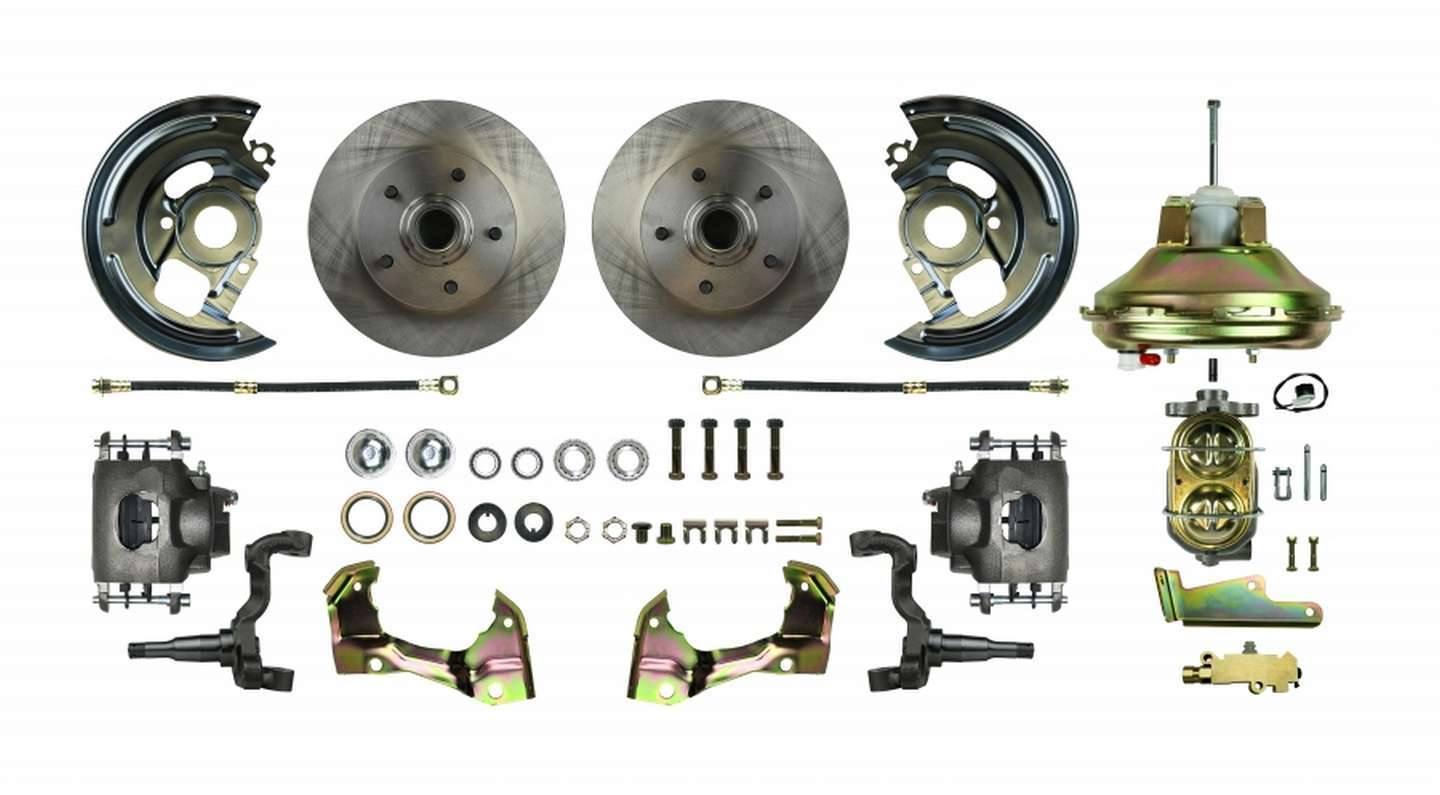 Right Stuff Detailing AFXDC06C Brake System, Power Disc Conversion, Front, 1 Piston Caliper, 11.00 in Rotors, Offset Hat, Iron, Natural, GM A-Body 1967-72, Kit