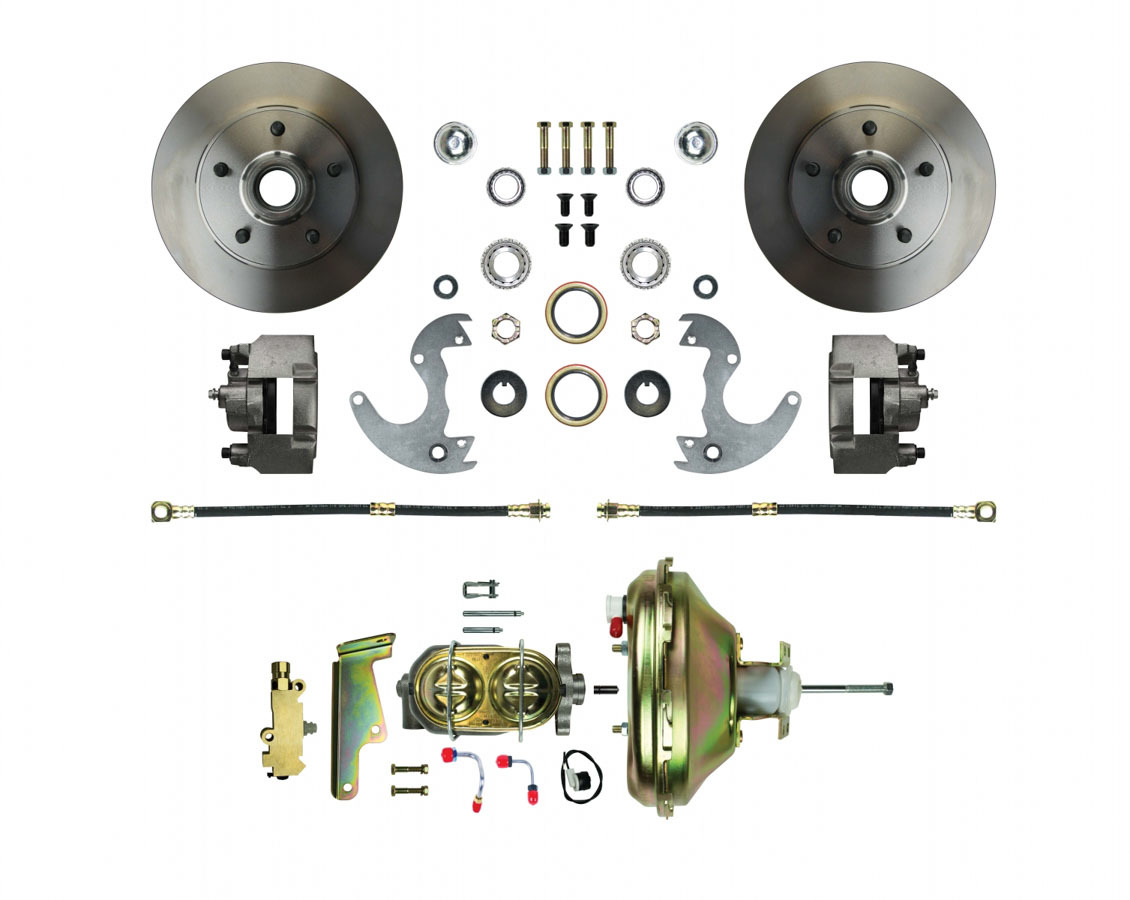 Right Stuff Detailing AFXDC14 Brake System, Disc Conversion, Front, 1 Piston Caliper, 10.50 in Solid Rotors, Offset Hat, Iron, Natural, GM A-Body / F-Body / X-Body 1967-74, Kit