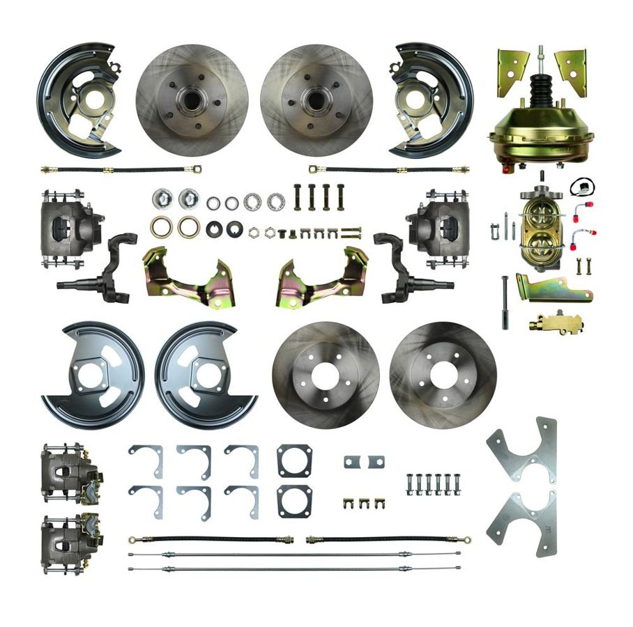 Right Stuff Detailing AFXDC41C Brake System, 4 Wheel Power Disc Conversion, Complete, 1 Piston Caliper, 11.00 in Rotors, Offset Hat, Iron, Natural, GM A-Body 1964-72, Kit