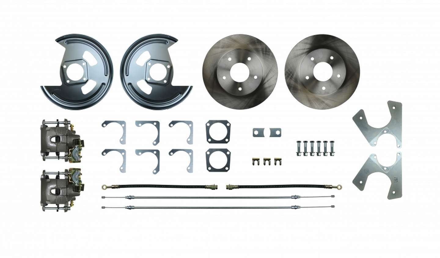 Right Stuff Detailing AFXRD01 Brake System, Disc Conversion, Rear, 1 Piston Caliper, 11.000 in Rotor, Offset Hat, Iron, Natural, GM 10-Bolt / 12-Bolt, Kit