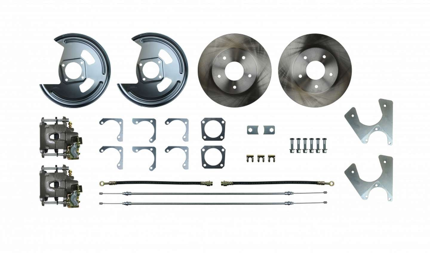 Right Stuff Detailing AFXRD05 Brake System, Disc Conversion, Rear, 1 Piston Caliper, 11.000 in Rotor, Offset Hat, Iron, Natural, GM 10-Bolt / 12-Bolt, Kit