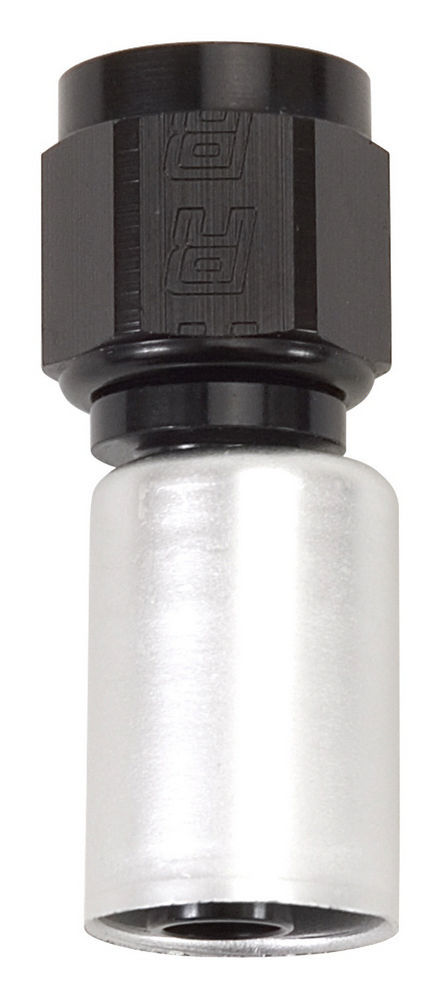 Russell 610403 Fitting, Hose End, Crimp-On, Straight, 4 AN Hose Crimp to 4 AN Female, Aluminum, Black / Silver Anodize, Each