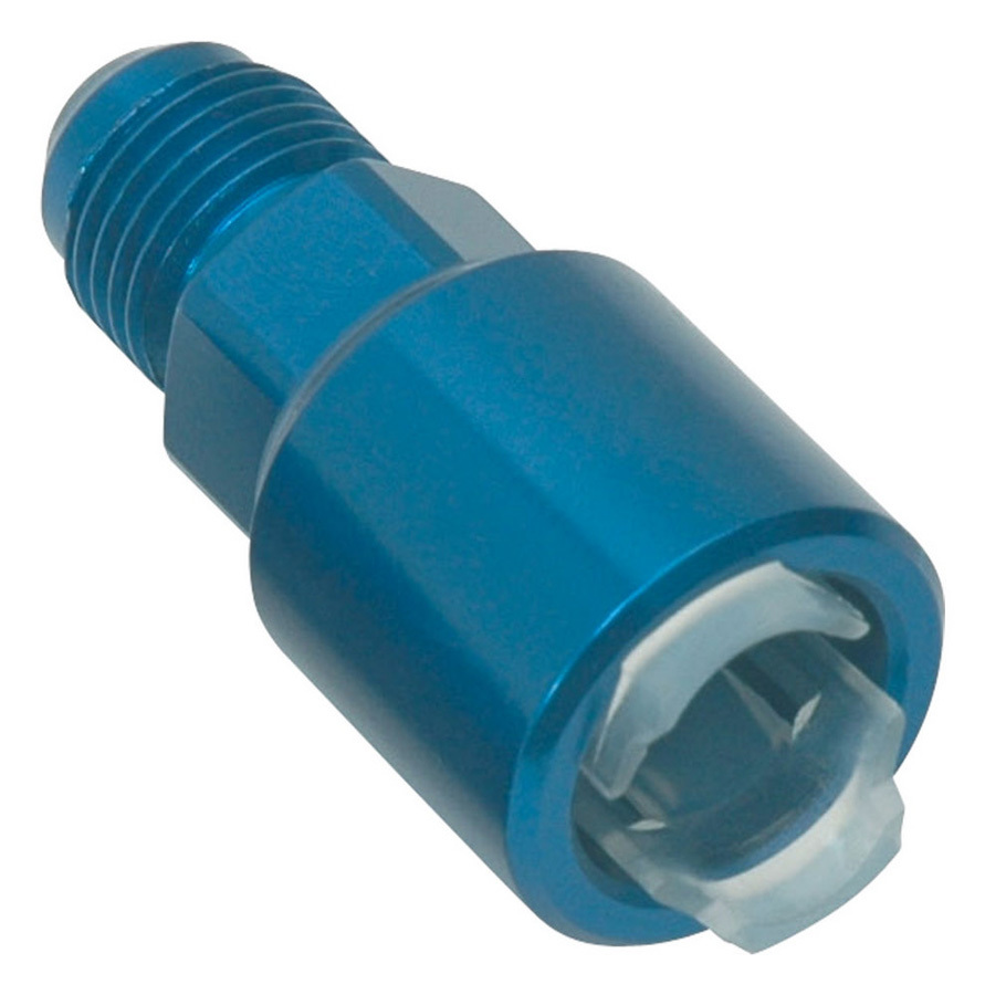 Russell 640860 Fitting, Adapter, Straight, 6 AN Male to 5/16 in SAE Female Quick Disconnect, Aluminum, Blue Anodize, Each