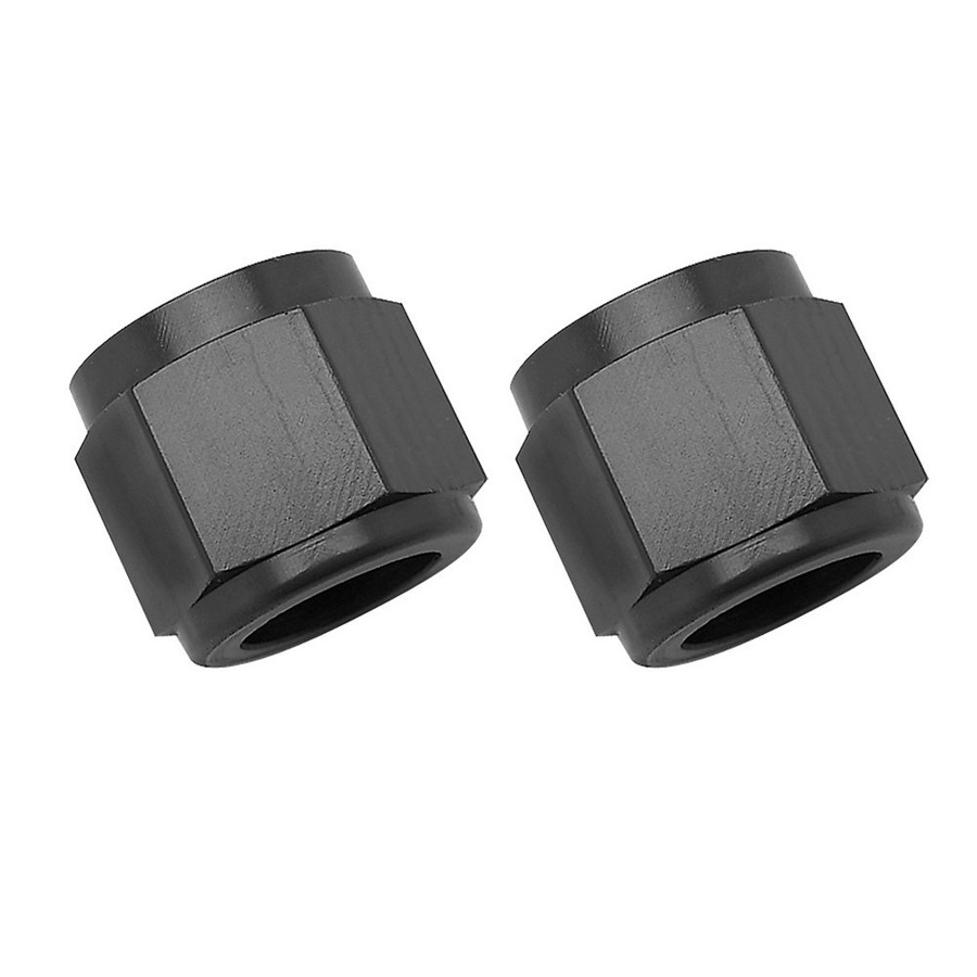 Russell 660575 Fitting, Tube Nut, 6 AN, 3/8 in Tube, Aluminum, Black Anodize, Pair