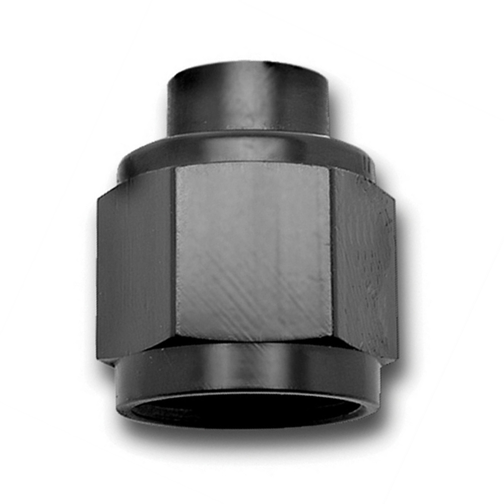 Russell 661973 Fitting, Cap, 8 AN, Aluminum, Black Anodize, Each