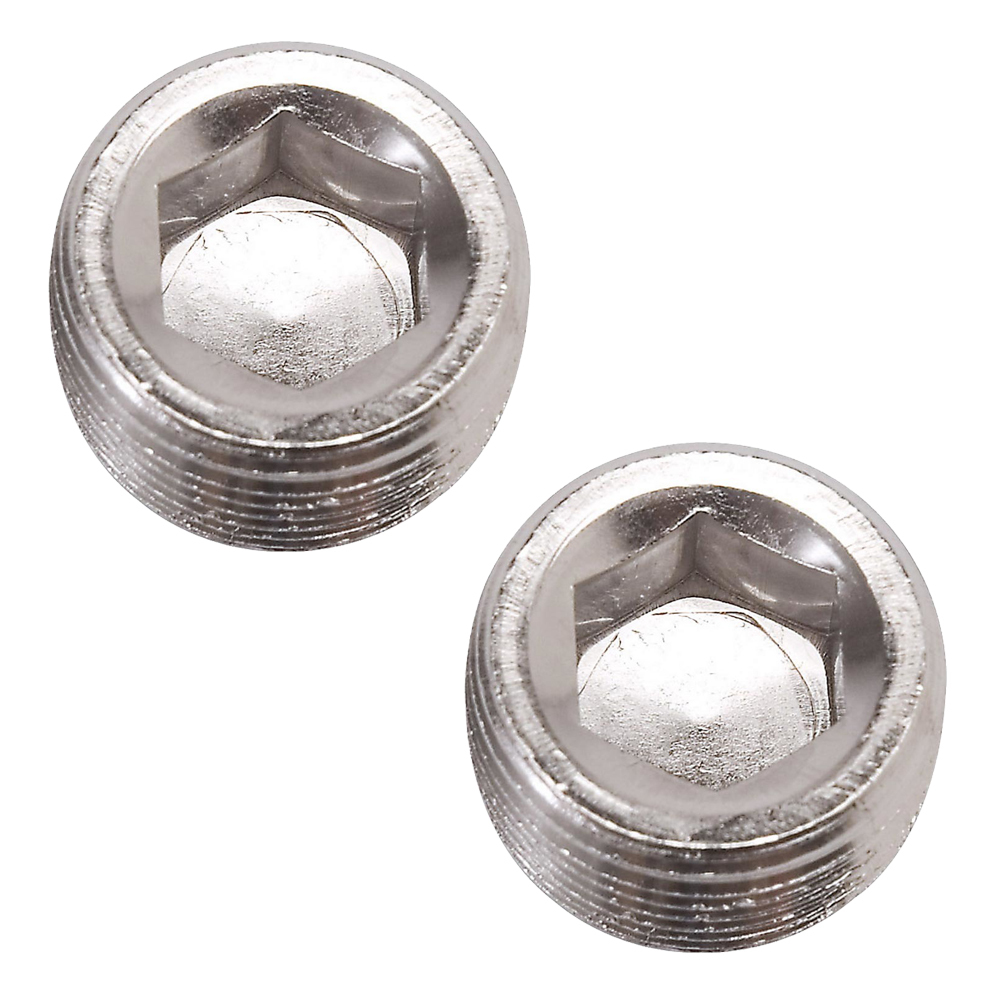 Russell 662031 Fitting, Plug, 1/8 in NPT, Allen Head, Aluminum, Nickel Anodize, Pair