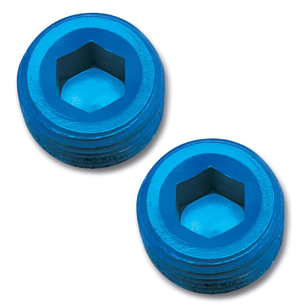 Russell 662040 Fitting, Plug, 1/4 in NPT, Allen Head, Aluminum, Blue Anodized, Pair