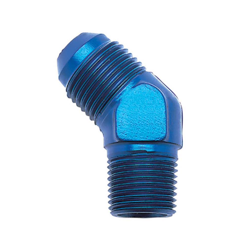 Russell 662390 Fitting, Adapter, 45 Degree, 6 AN Male to 3/8 in NPT Male, Aluminum, Blue Anodize, Each