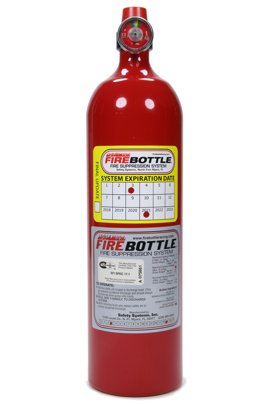 Safety Systems PRC-500S Fire Suppression System Bottle, RC, Manual, FE-36, 5.0 lb Bottle, Kit
