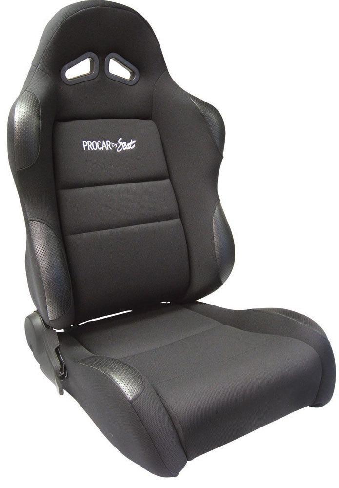 Scat 80-1605-61R Seat, Sportsman 1605 Series, Passenger Side, Sliders, Reclining, Side Bolsters, Harness Openings, Vinyl / Velour, Black / Black, Each