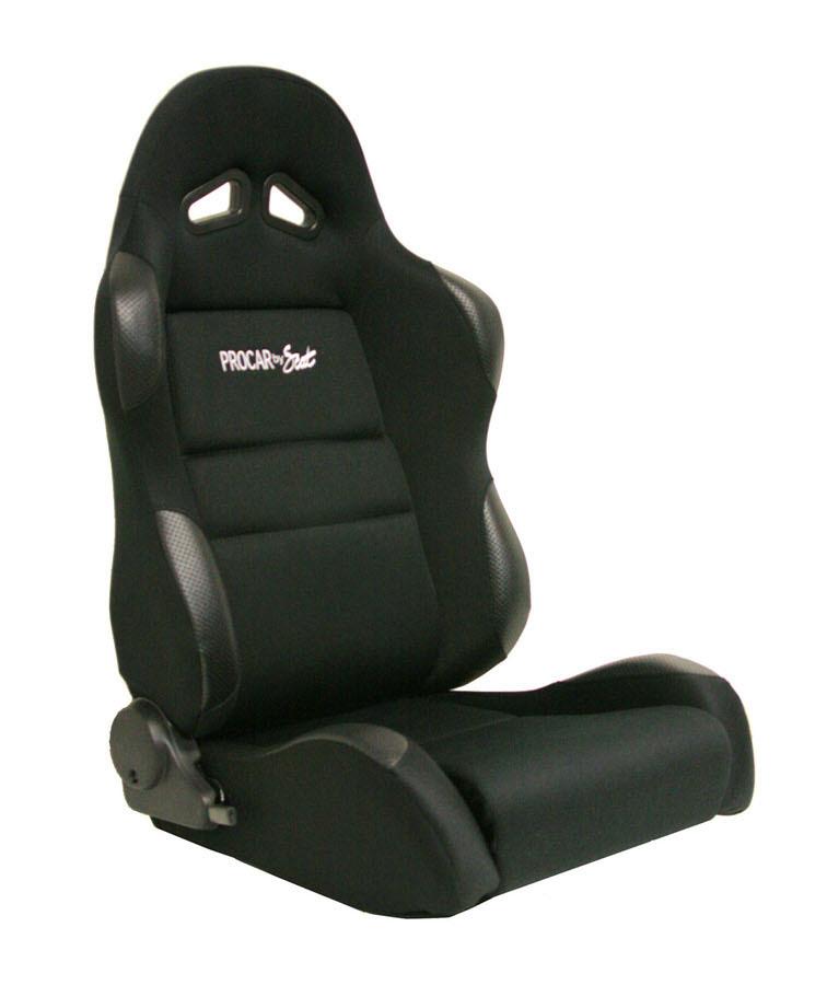 Scat 80-1606-61R Seat, Sportsman Suspension 1606 Series, Passenger Side, Sliders, Reclining, Side Bolsters, Harness Openings, Velour, Black / Black, Each