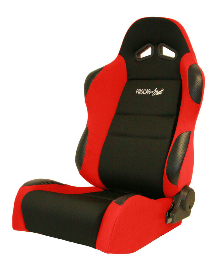 Scat 80-1606-64L Seat, Sportsman Suspension 1606 Series, Driver Side, Sliders, Reclining, Side Bolsters, Harness Openings, Velour, Black / Red, Each