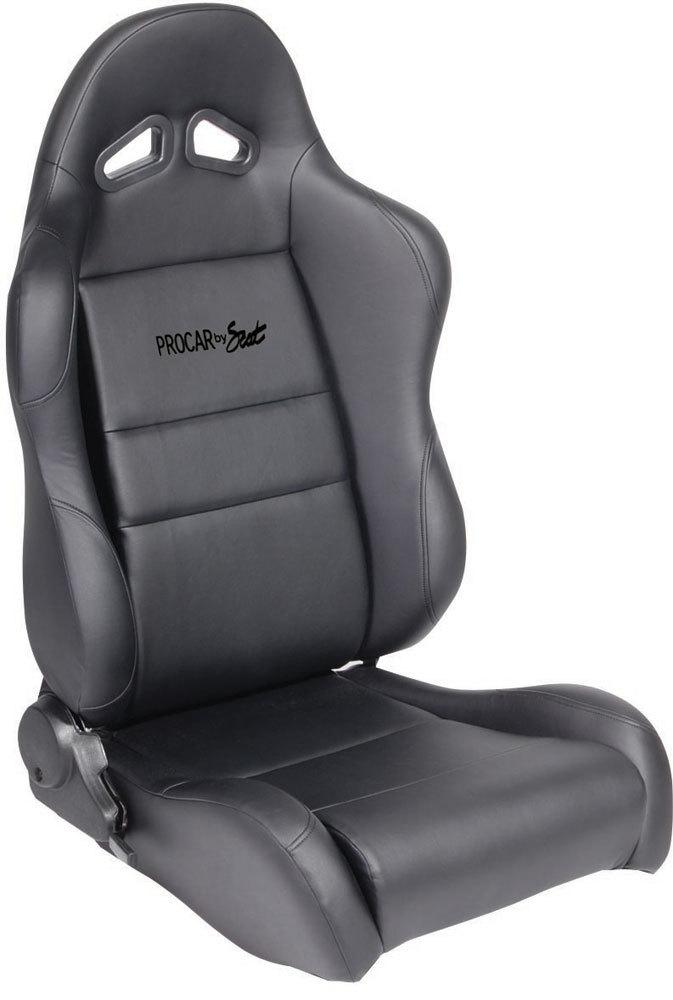 Scat 80-1610-51R Seat, Sportsman Suspension 1610 Series, Passenger Side, Sliders, Reclining, Side Bolsters, Harness Openings, Vinyl, Black, Each