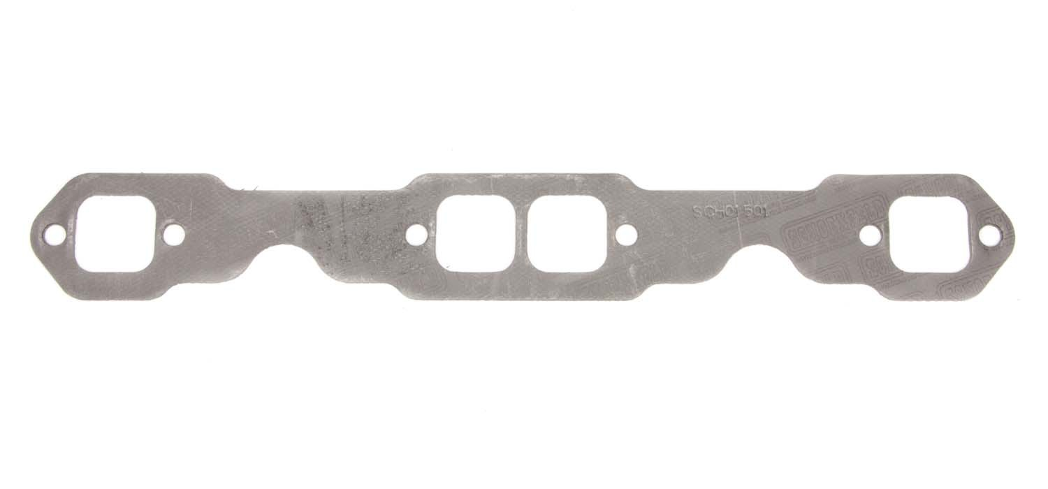 Schoenfeld 01501 Exhaust Manifold / Header Gasket, 1.500 x 1.450 in Square Port, Steel Core Graphite, Small Block Chevy, Each