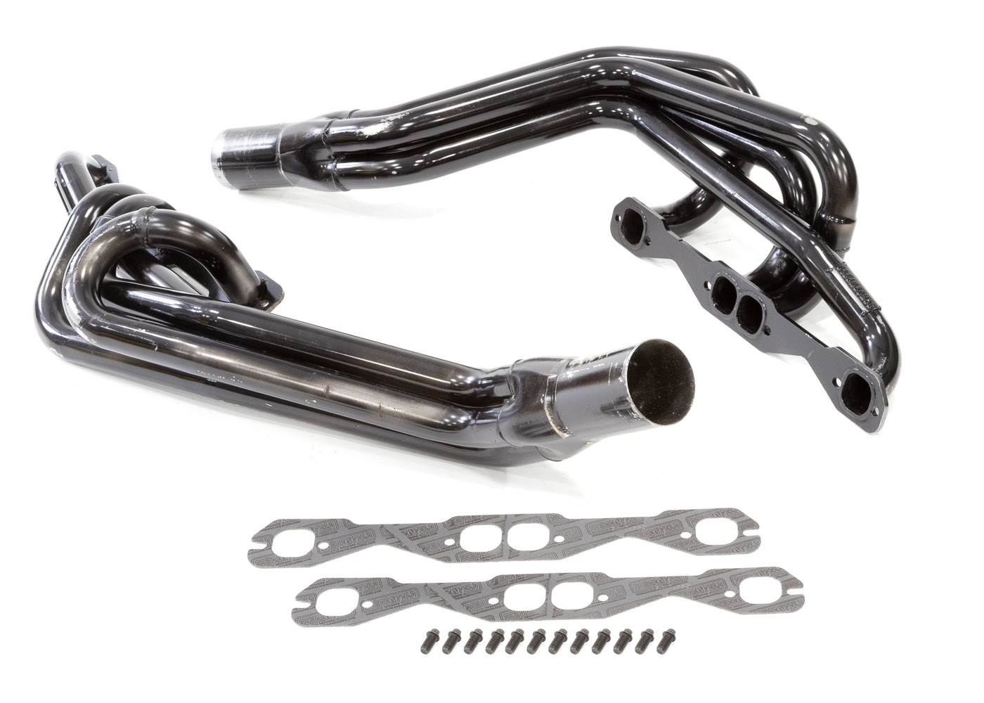 Schoenfeld 145CM2 Headers, Conventional Crossover, 1-5/8 in Primary, 3 in Collector, Steel, Black Paint, 602 Crate, Small Block Chevy, Kit