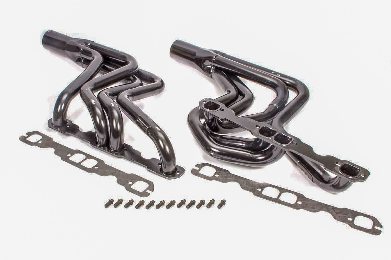 Schoenfeld 181-406LVGCM2-3 Headers, Dirt Late Model, 1-5/8 to 1-7/8 in Primary, 3 in Collector, Steel, Black Paint, Small Block Chevy, Kit