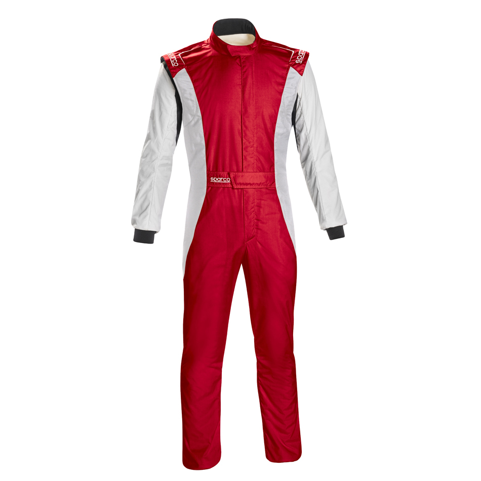 Sparco 001128SFB62RSBN Suit, Competition, 1 Piece, SFI 3.2A/5, FIA Approved, Triple Layer, Fire Retardant Fabric, Red / White, Size 62, X-Large / 2X-Large, Each