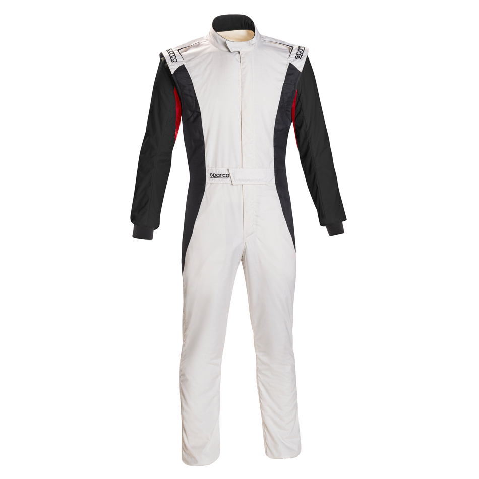 Sparco 001128SFB66BINR Suit, Competition, 1 Piece, SFI 3.2A/5, FIA Approved, Triple Layer, Fire Retardant Fabric, Black / White, Size 66, 2X-Large / 3X-Large, Each