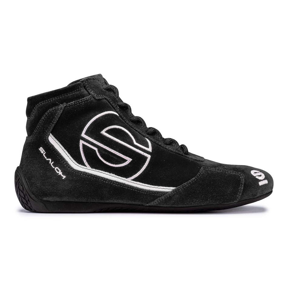 Sparco 00126644NRNR Shoe, Slalom RB-3, Driving, Mid-Top, SFI 3.3/5, FIA Approved, Suede Outer, Fire Retardant Inner, Black, Euro 44, Pair
