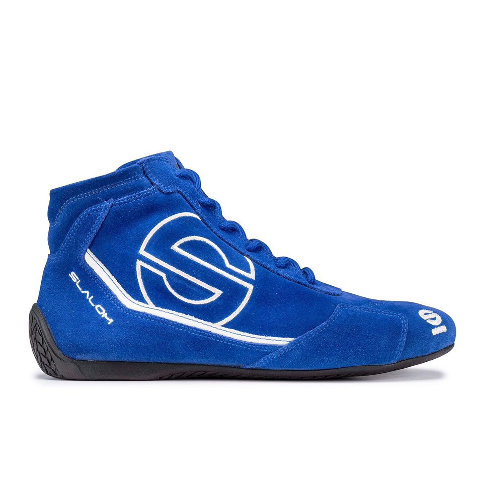 Sparco 00126645AZNR Shoe, Slalom RB-3, Driving, Mid-Top, SFI 3.3/5, FIA Approved, Suede Outer, Fire Retardant Inner, Blue, Euro 45, Pair