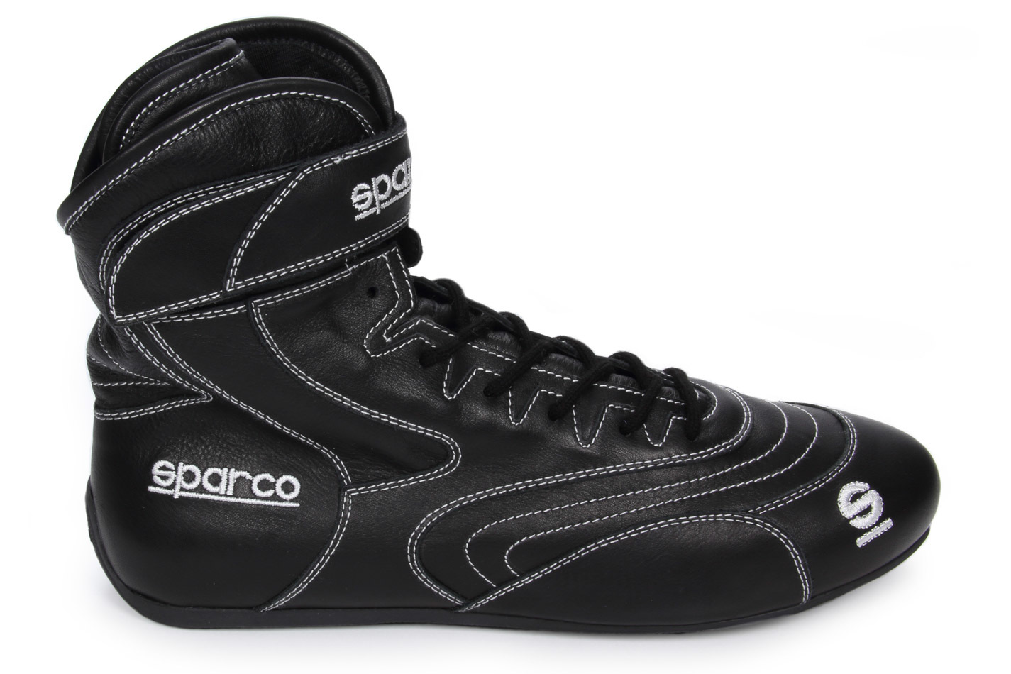 Sparco 00127344NR Shoe, SFI 20 Drag, Driving, High-Top, SFI 20, Leather Outer, Fire Retardant Inner, Black, Euro 44, Pair