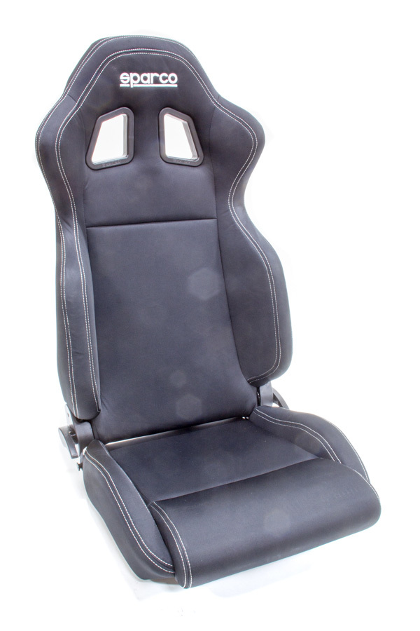 Sparco 00961NRNR Seat, R100, Reclining, Side Bolsters, Harness Openings, Fiberglass Composite, Fabric, Black, Each