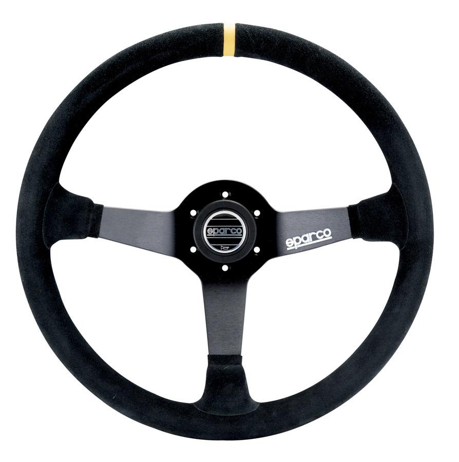 Sparco 015R345MSN Steering Wheel, R345, 350 mm Diameter, 3-Spoke, 63 mm Dish, Suede Grip, Aluminum, Black, Each