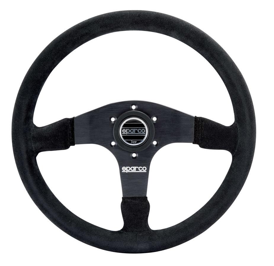 Sparco 015R375PSN Steering Wheel, R375, 350 mm Diameter, 3-Spoke, 36 mm Dish, Suede Grip, Aluminum, Black, Each