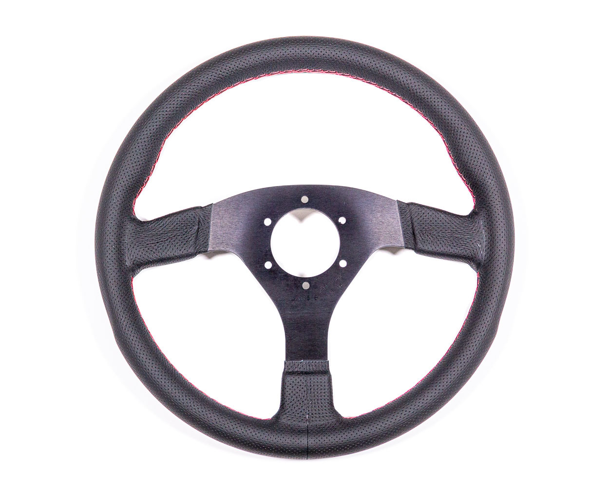 Sparco 015TSDPLRS Steering Wheel, Strada, 350 mm Diameter, 3-Spoke, 39 mm Dish, Leather Grip, Aluminum, Black Anodize, Each