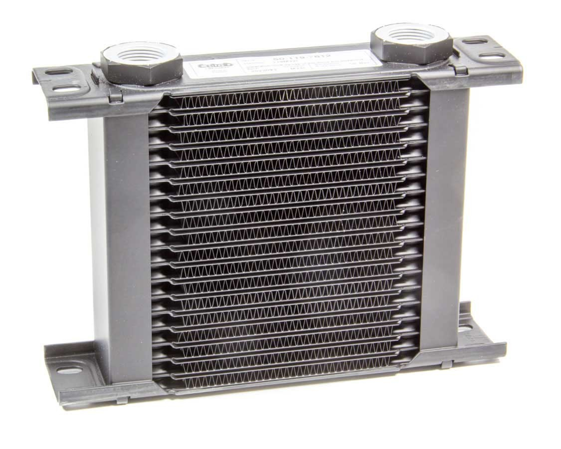 Setrab Oil Coolers 50-119-7612 Fluid Cooler, ProLine STD 1 Series, 8-17/64 x 6-7/64 x 2 in, Plate Type, 22 mm x 1.50 Female Inlet, 22 mm x 1.50 Female Outlet, Aluminum, Black Paint, Universal, Each