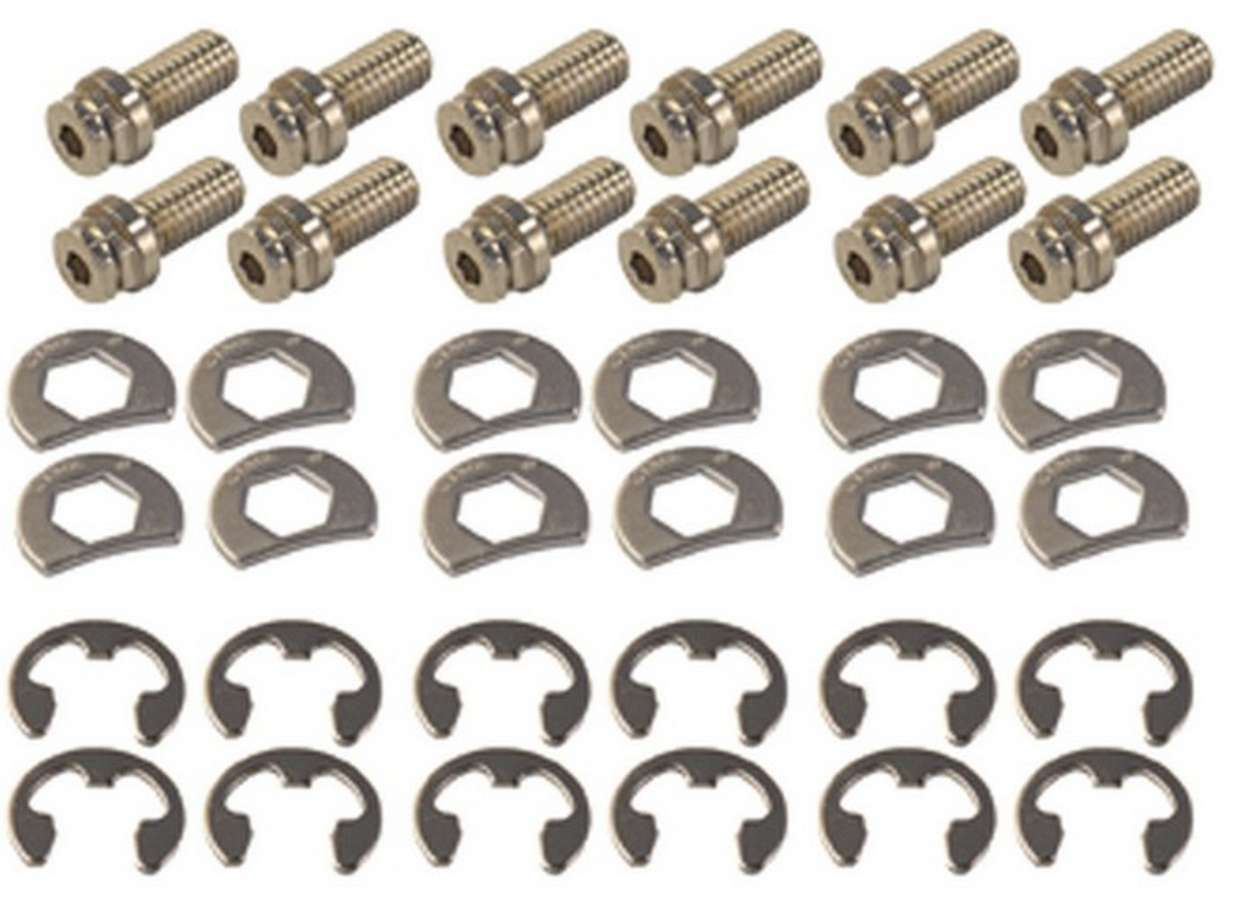 Stage 8 8911 Header Bolt, Locking, 3/8-16 in Thread, 0.750 in Long, Hex Head, Steel, Nickel Plated, GM V6 / Small Block Chevy, Set of 12
