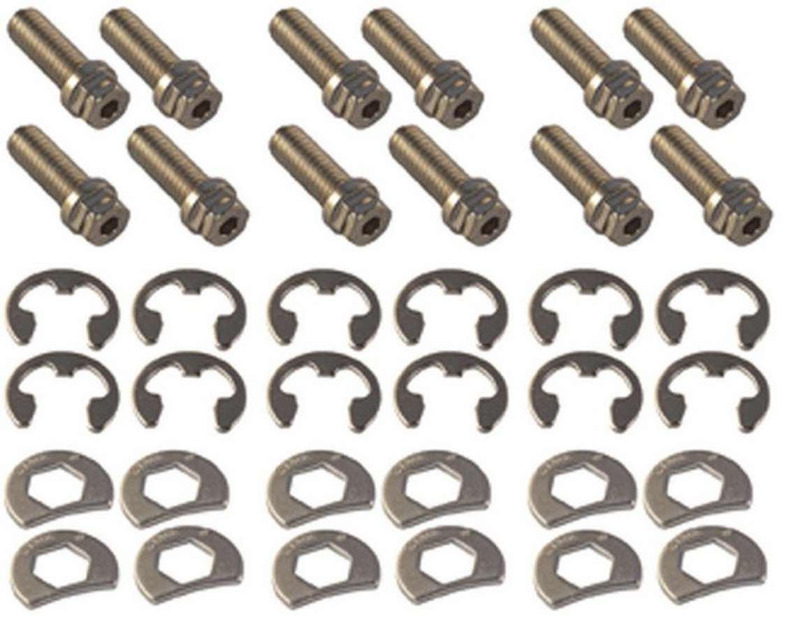 Stage 8 8911A Header Bolt, Locking, 3/8-16 in Thread, 1.000 in Long, Hex Head, Steel, Nickel Plated, GM V6 / Small Block Chevy, Set of 12