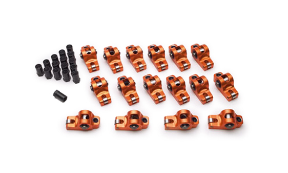 Sharp Rockers S4102 Rocker Arm, Original, 7/16 in Stud Mount, 1.60 Ratio, Full Roller, Aluminum, Orange Anodized, Small Block Ford, Set of 16