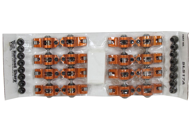 Sharp Rockers SLS17A Rocker Arm, Original, Shaft Mount, 1.70 Ratio, Adjustable, Full Roller, Aluminum, Orange Anodized, LS1 / LS2 / LS6, GM LS-Series, Set of 16