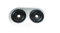 Seals-It GS10032H8 Firewall Grommet, 2 in Hole, 0.500 in ID, 5.750 x 3 in Oval, Rubber, Aluminum / Black, Each