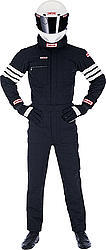 Simpson 0402411 Suit, Driving, 1 Piece, SFI 3.2A/5, Double Layer, Nomex, Black / White Stripes, X-Large, Each