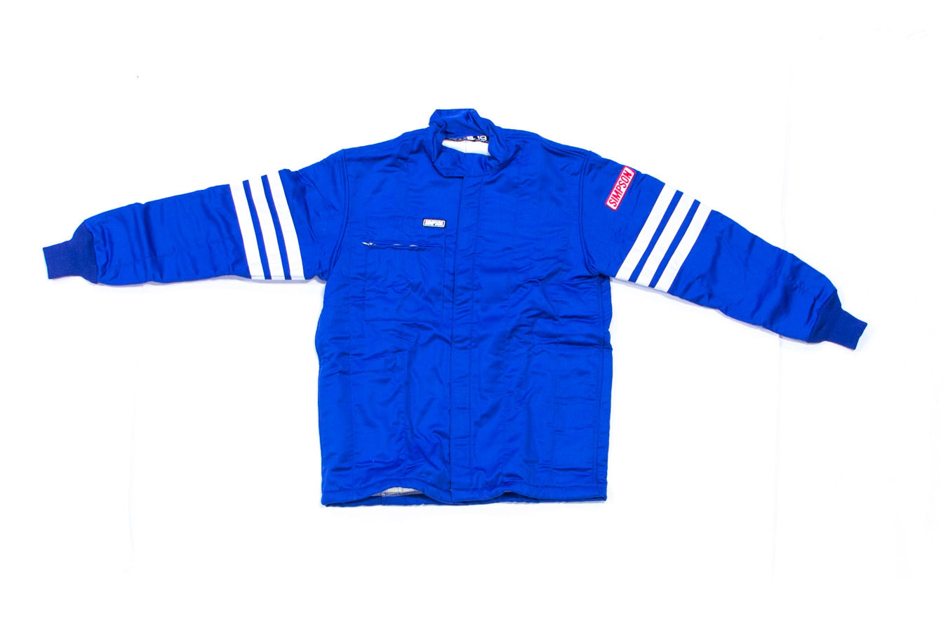 Simpson 0404312 Jacket, Driving, SFI 3.2A/5, Double Layer, Nomex, Blue / White Stripes, Large, Each