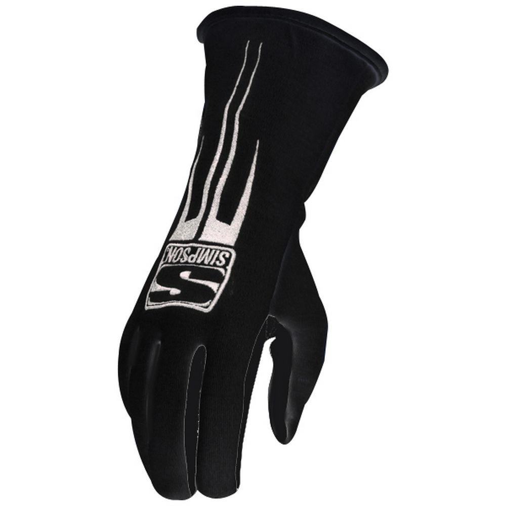 Simpson 20800LK Gloves, Predator, Driving, SFI 3.3/5, Double Layer, Nomex / Leather, Black, Large, Pair