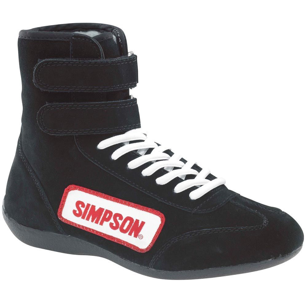 Simpson 28100BK Shoe, Driving, High-Top, SFI 3.3/5, Suede Outer, Nomex Inner, Black, Size 10, Pair