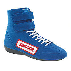 Simpson 28100BL Shoe, Driving, High-Top, SFI 3.3/5, Suede Outer, Nomex Inner, Blue, Size 10, Pair