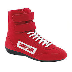 Simpson 28100RD Shoe, Driving, High-Top, SFI 3.3/5, Suede Outer, Nomex Inner, Red, Size 10, Pair