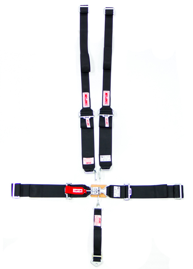 Simpson 29064/W30010BK Harness, 5 Point, Latch and Link, SFI 16.1, Pull Down Adjust, Wrap Around, Individual Harness, HANS Ready, Black, Kit