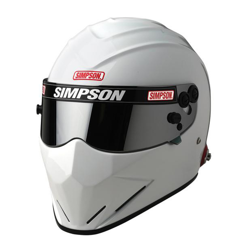 Simpson 7297181 Helmet, Diamondback, Snell SA2020, Head and Neck Support Ready, White, Size 7-1/8, Each