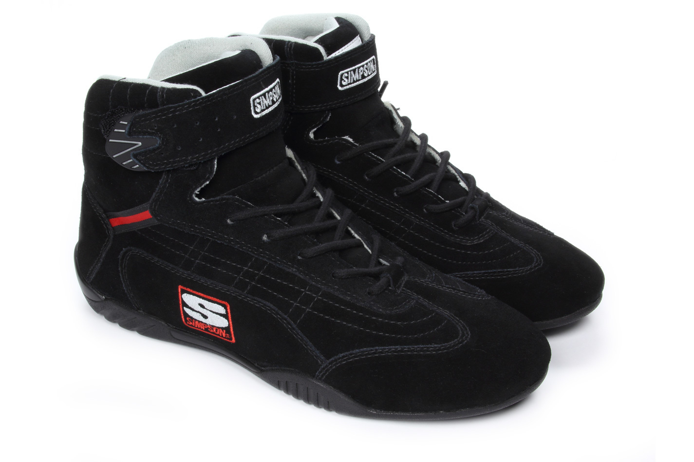 Simpson AD500BK Shoe, Adrenaline, Driving, High-Top, SFI 3.3/5, Suede Outer, Nomex Inner, Black, Size 5, Pair