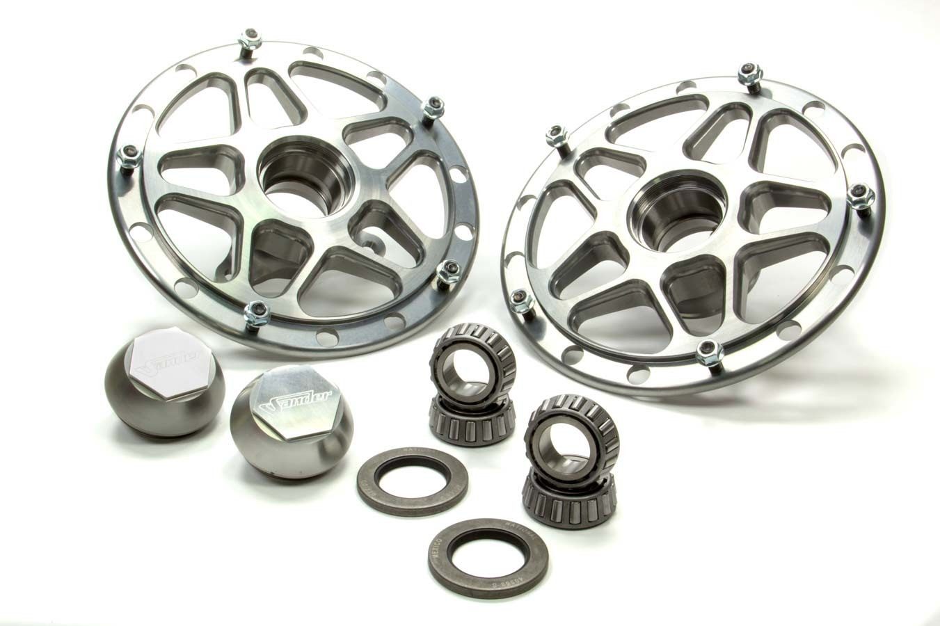 Sander Engineering 1015-15F-9 Wheel Hub, Front, Direct Mount, Bearings, Aluminum, Polished, Sprint Car, Pair