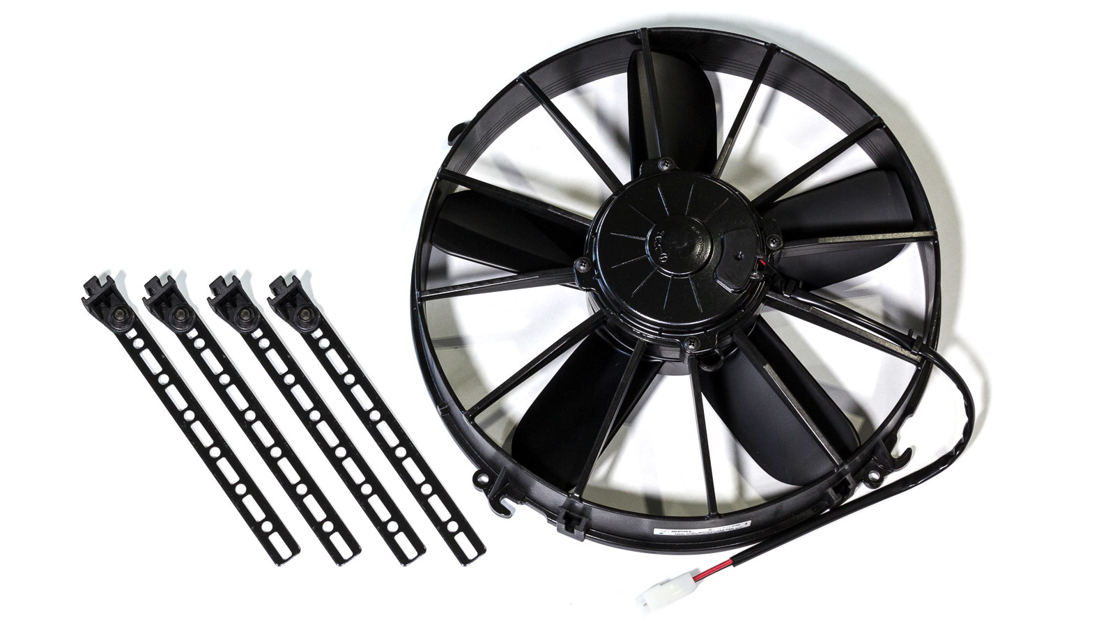 Spal 30102546 Electric Cooling Fan, High Performance, 12 in Fan, Pusher, 1752 CFM Max, 24V, Straight Blade, 13.78 in Diameter, 3.45 in Thick, Plastic, Each