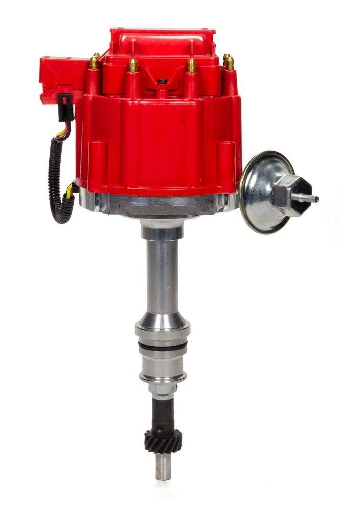 Specialty Chrome 3102R Distributor, Ready-To-Run, Magnetic Pickup, Vacuum Advance, HEI Style Terminal, Red, Small Block Ford, Each